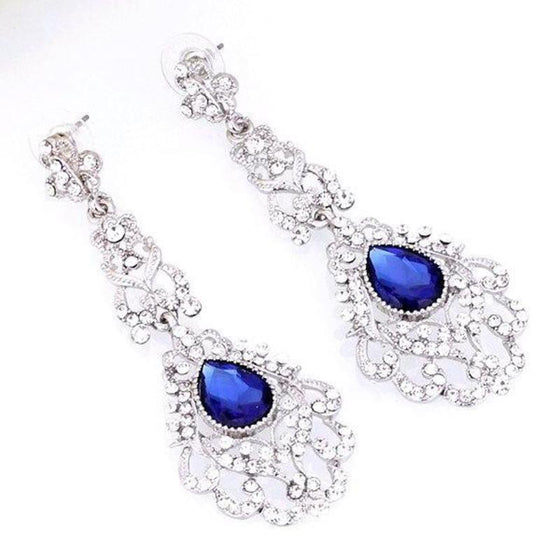 Blue Large Rhinestone Stud Earrings Dangle - SexyBling