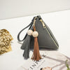 Casual Triangle Leather Fringe Clutch