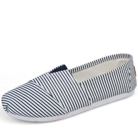 Cotton Striped Slip On Shoes - SexyBling