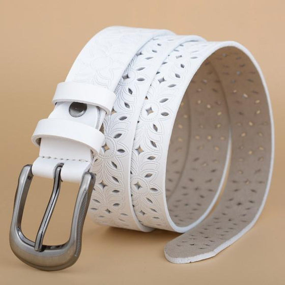 Cow Skin Perforated Leather Belt - SexyBling