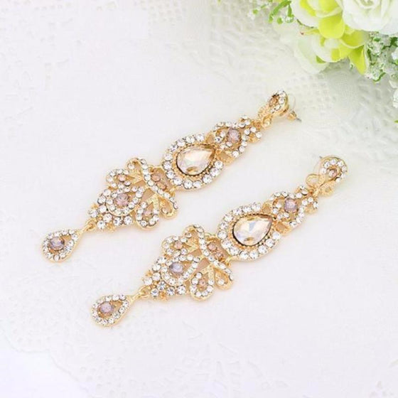 Crystal Long Chandelier Earrings - SexyBling