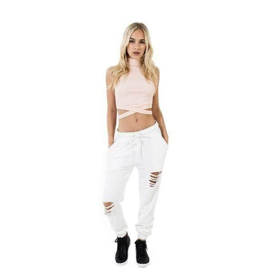 Cut Out Workout Loose Pant - SexyBling