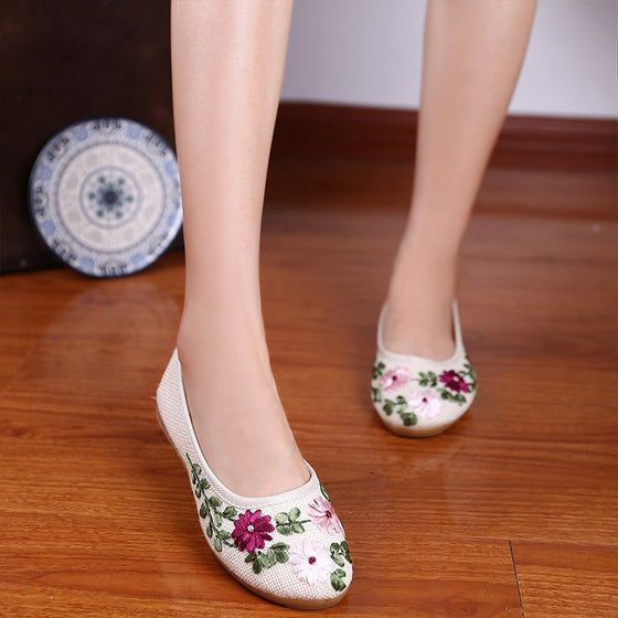 Cute Floral Print Flats - SexyBling
