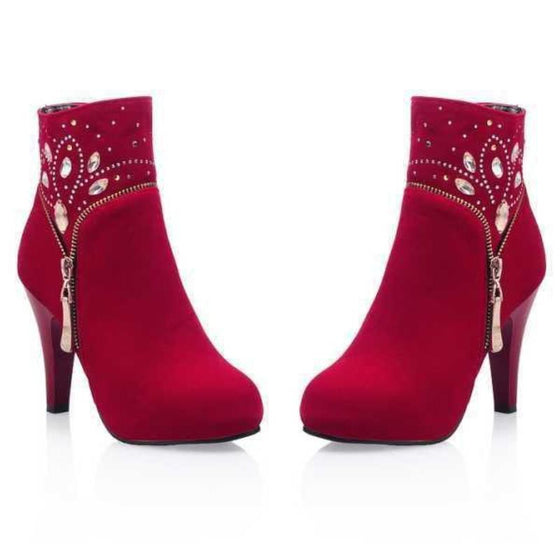 Women Suede Ankle Boots with - SexyBling