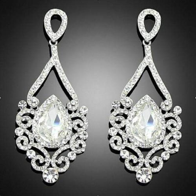 Buy exquisite long crystal chandelier earrings online at lowest exquisite long crystal chandelier earrings silver by sexybling aloadofball Choice Image