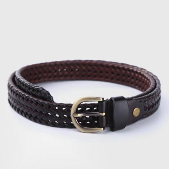 Fashion Cowhide Braided Belt - SexyBling