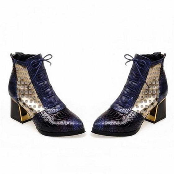 Faux Snakeskin Ankle Boots With Laces - SexyBling