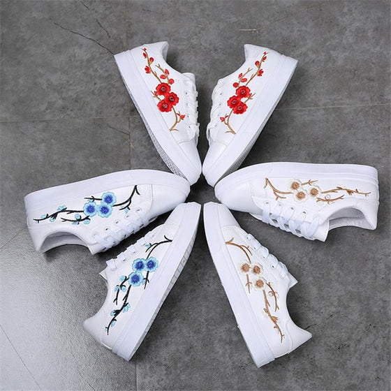 Floral Embroidered Sneakers Shoes - SexyBling