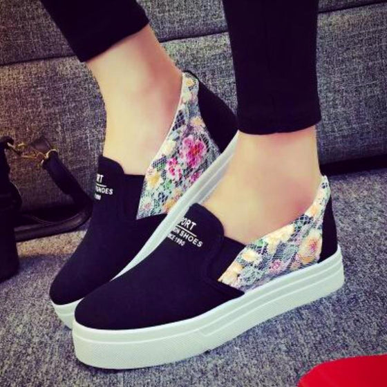Floral Slip On Trainers Sneakers - SexyBling