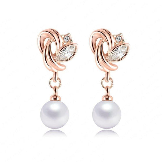 Flower Pearl Drop Earrings - SexyBling