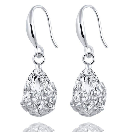 Gold Silver Crystal Drop Earrings - SexyBling