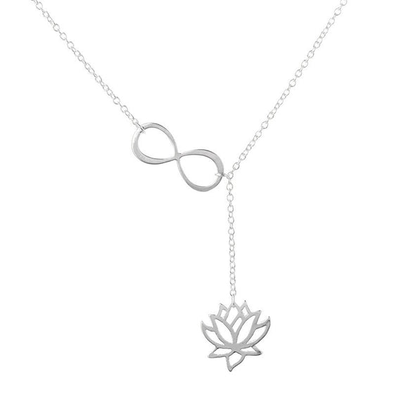 Gold Infinity Lotus Lariat Pendant  Necklace