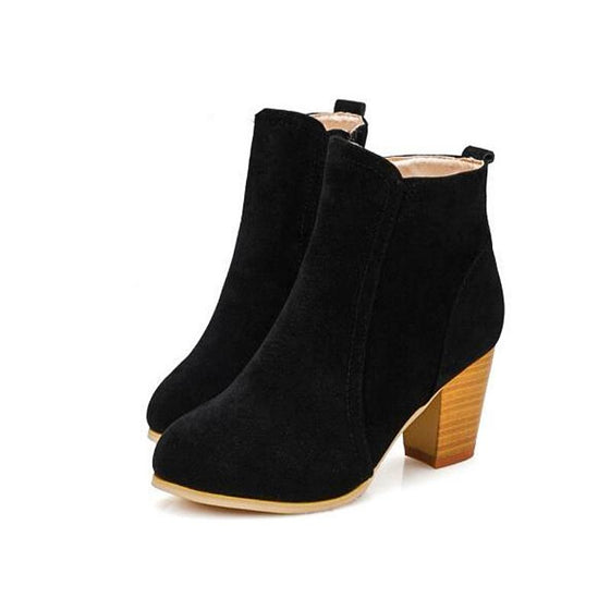 High Heel Suede Ankle Boots With Side Zip - SexyBling