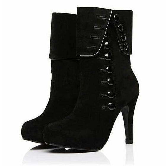 High Heeled Button Boots - SexyBling