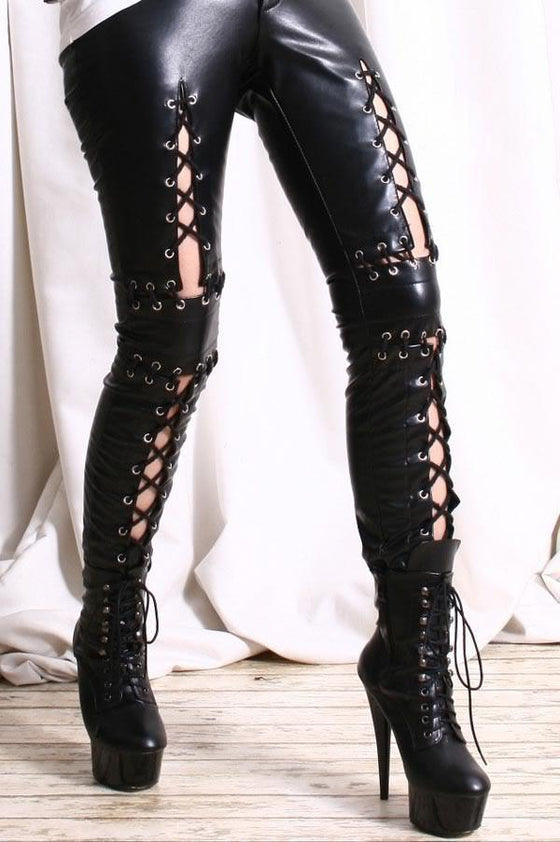 Lace Up Front Faux Leather Pant - SexyBling