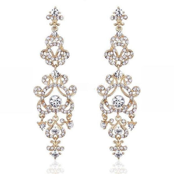 Long Crystal Chandelier Earrings - SexyBling