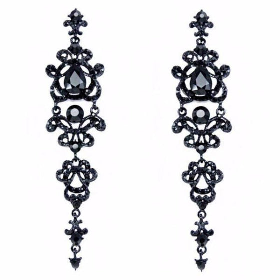 Long Gothic Chandelier Earrings - SexyBling