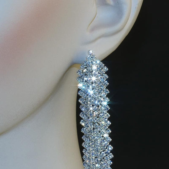 Luxury Silver Rhinestone Drop Earrings - SexyBling
