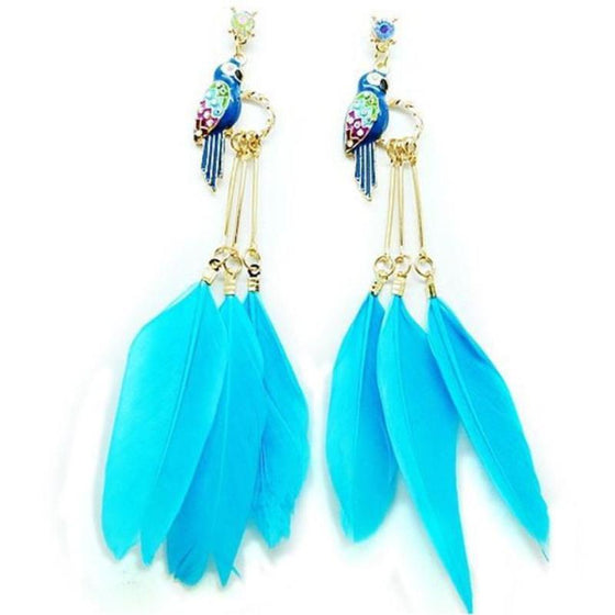 Real Feather Earrings With Bird - SexyBling