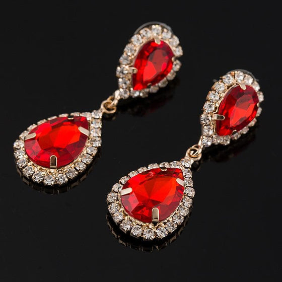 Red Crystal Drop Earrings - SexyBling