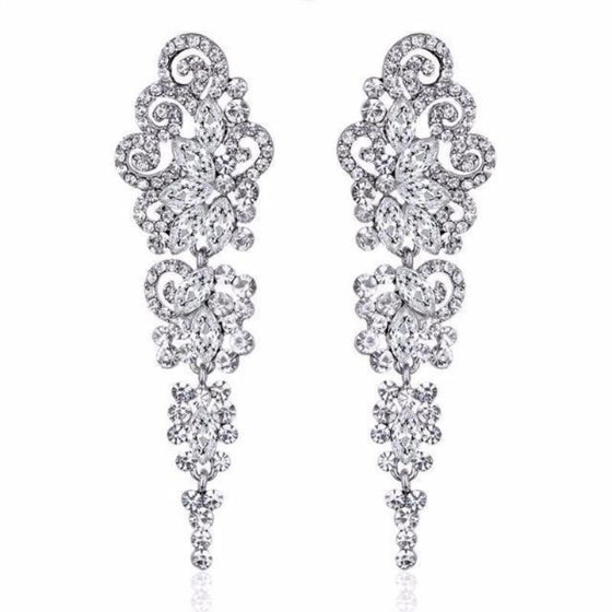 Silver Crystal Long Earrings for Women - SexyBling