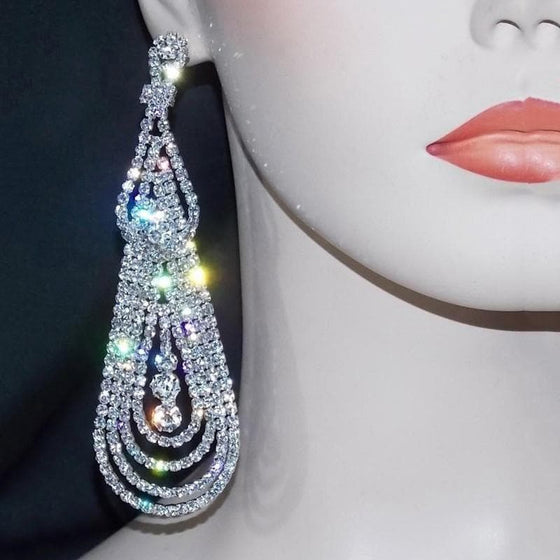 Silver Rhinestone Tassel Earrings - SexyBling