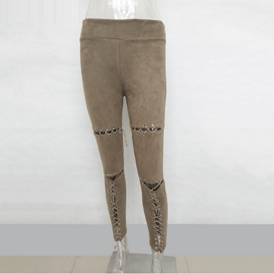 Stretchy Suede Lace Up Pants - SexyBling
