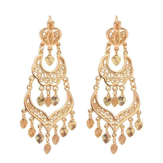 Tripe Layer Golden Chandelier Earrings - SexyBling