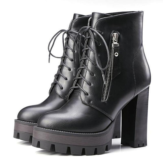 Women's Lace Up Leather Boots - SexyBling