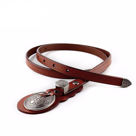 Women's Thin Belt With Large Buckle - SexyBling