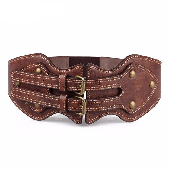 Women's Wide Double Buckle Belt - SexyBling