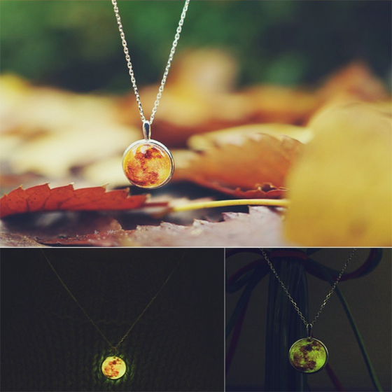 Glow In The Dark Color Moon Necklace