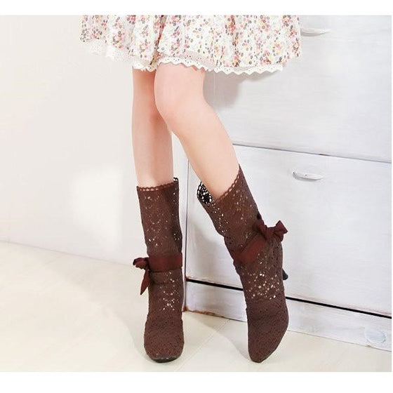 Sexy High Heel Summer Cutout Bow Fashion Boots - SexyBling