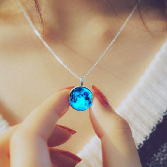 Glow In The Dark Blue Moon Necklace - SexyBling