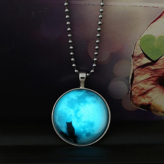Glowing Owl And Moon Necklace - SexyBling