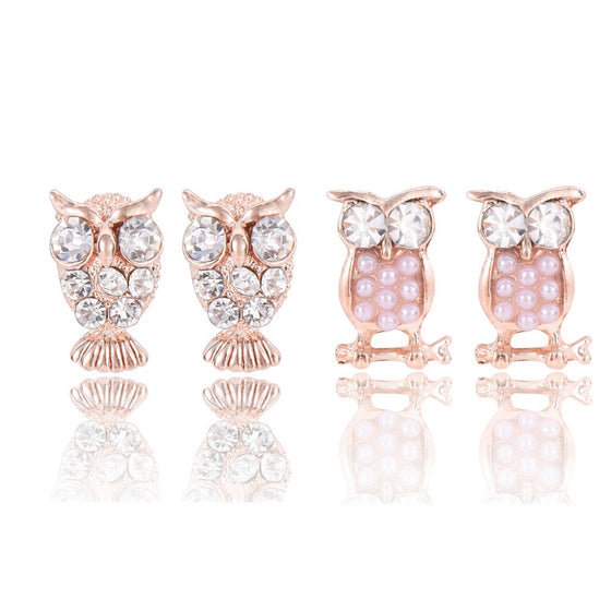Austrian Crystal Owl Earrings