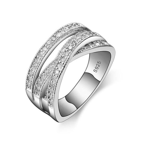 Sterling Silver Cubic Zircon Crystal Wedding Ring