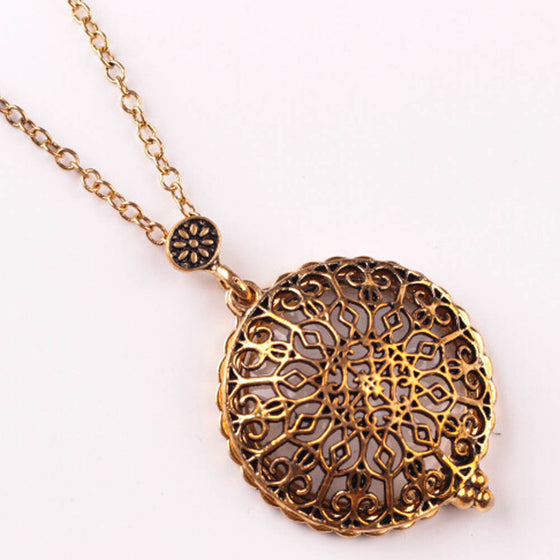 Double-Circle Hollow Pendant Necklace