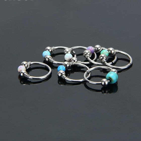 Opal Hoops Ear Piercings - SexyBling
