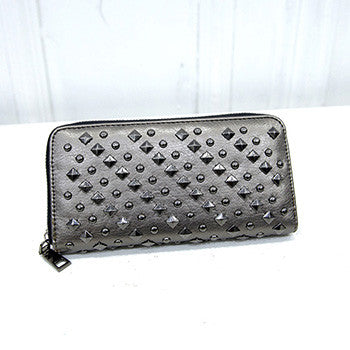 Punk Style Faux Leather Rivet Wallet - SexyBling
