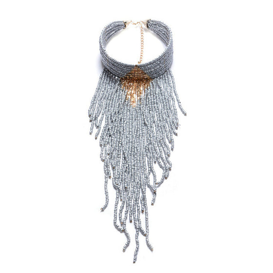 Indian Collar Long-Tassel Necklace