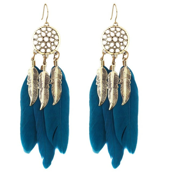 Hollow Wheel Feather Earrings