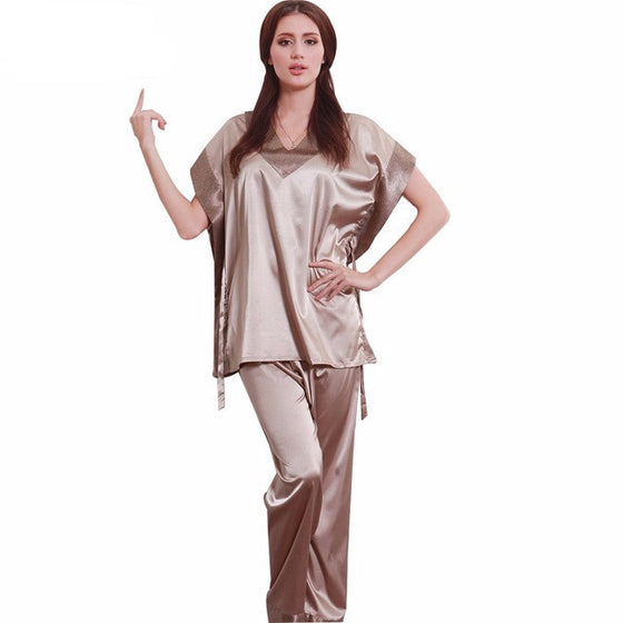 Short Sleeve Silk Ladies Pajamas