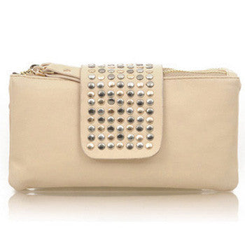 Feisty Rivet Leather Evening Purse