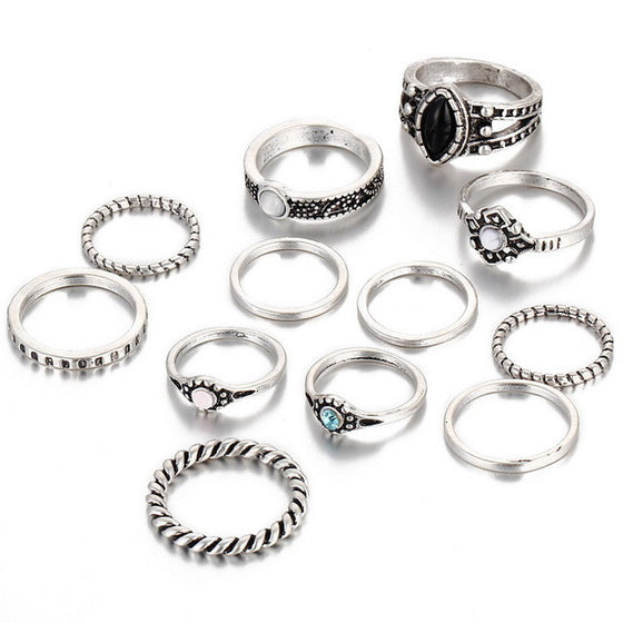 12 PCS Retro Vintage Knuckle Midi Rings For Women