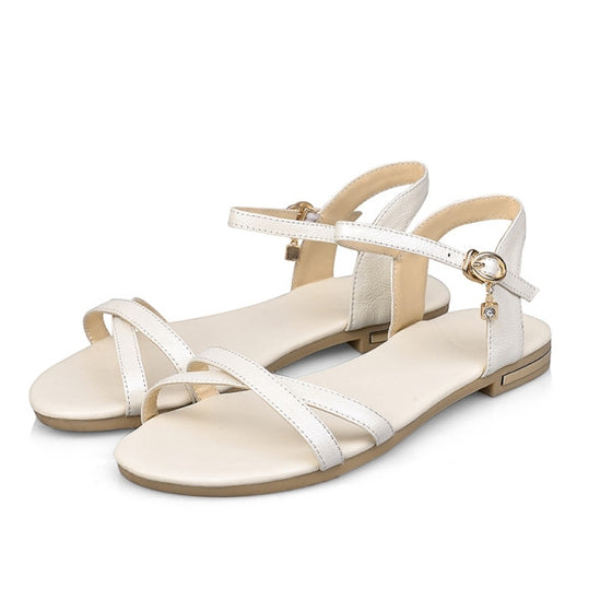 Genuine Leather Solid Buckle Strap Flat Sandals
