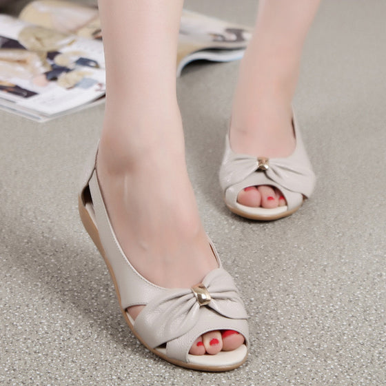 Genuine Cow Leather Summer Fashion Butterfly-Knot Ladies Sandals