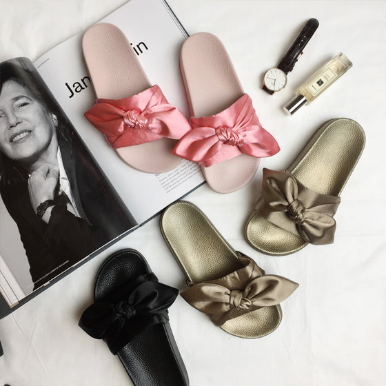 Luxury Silk-Bow Flat Sandals