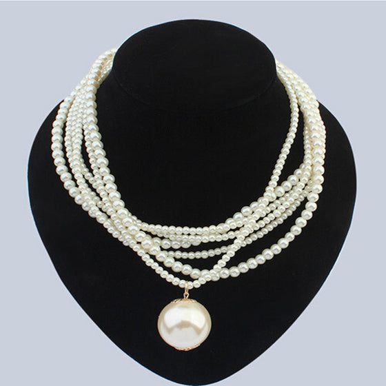 Big Pearl & Beads Necklace