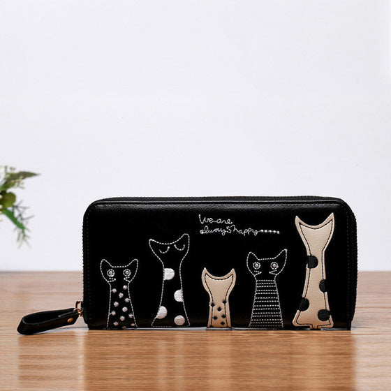 Elegant Cat Cartoon Zipper Wallet